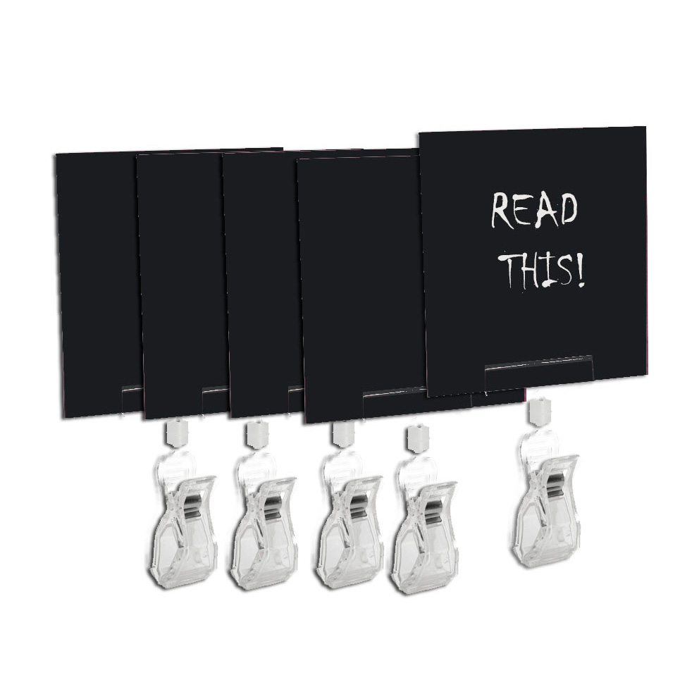 E3789 - Set with 5 slates and 5 sign holder clips